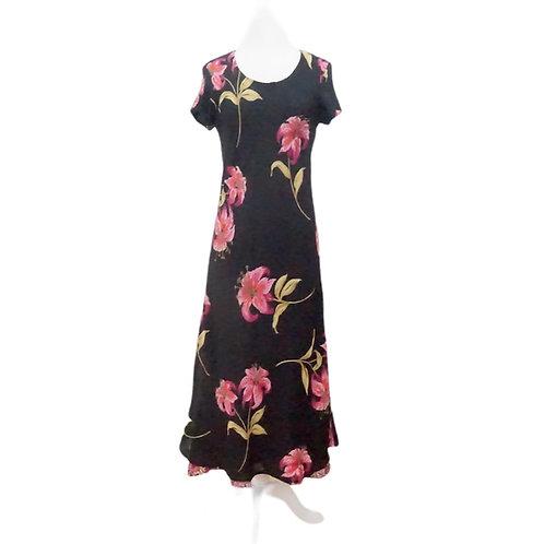 Black & Pink Lily Midi Dress