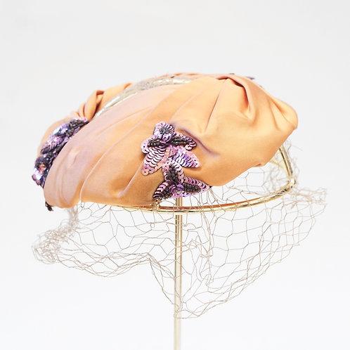Orange Sequin Fascinator Hat
