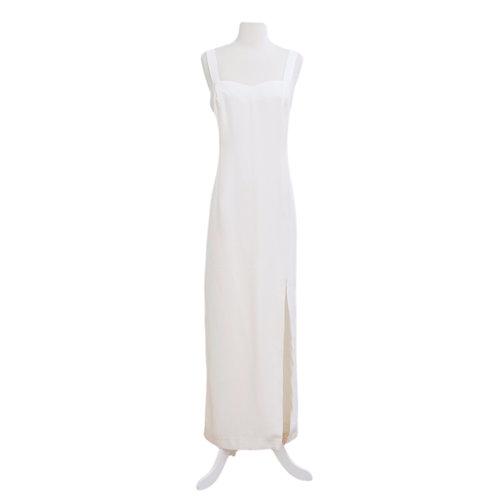 Tailored White Slit Dress