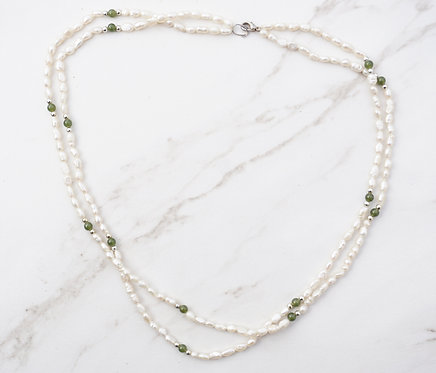 Double Pearl and Green Necklace