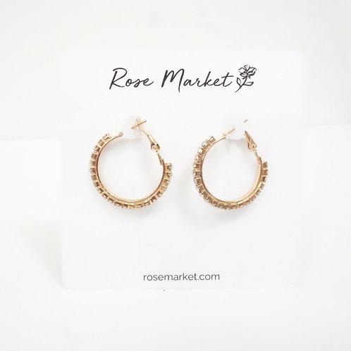 Gold Rhinestone Hoop Earring
