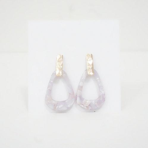 Light Purple & Gold Triangle Earring
