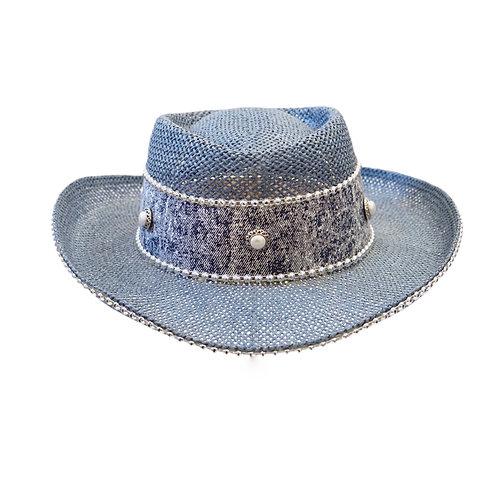 Denim Bedazzled Cowboy Hat