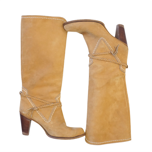 Camel Leather Tall Boots (8)
