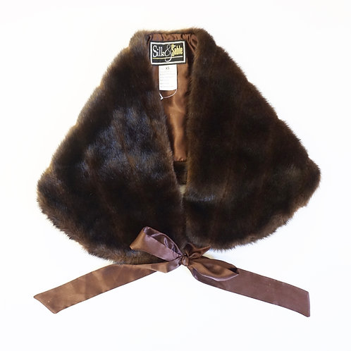 Faux Fur Shawl with Tie