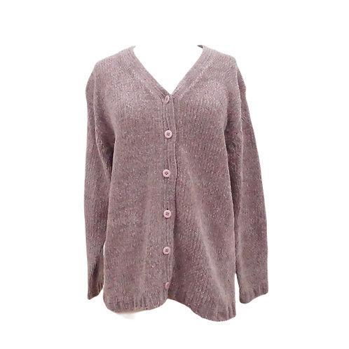 Mauve Chenille Cardigan Sweater