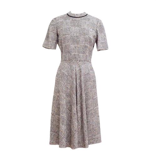 Neutral Tweed Midi Dress