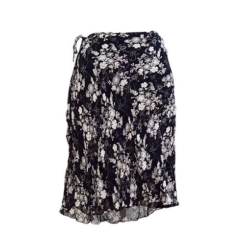 Black Stretch Layered Floral Midi Skirt