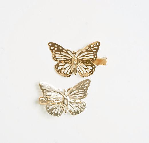 Gold Butterfly Hair Clip Set