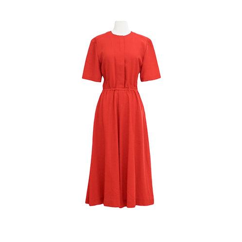 Red Short Sleeve Midi Dress