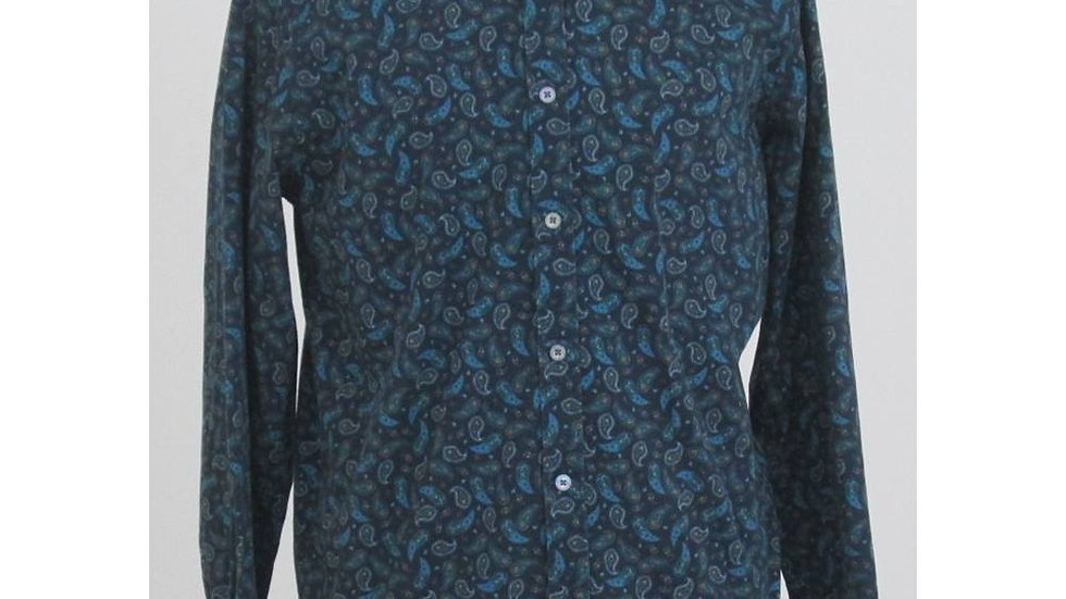 TED BAKER SIZE: L GREEN PAISLEY LONG SLEEVED SHIRT
