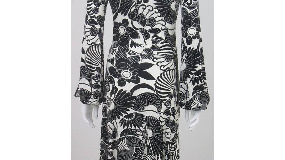 Morgan - Size S - Black & Ivory Floral, Sleeved dress