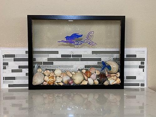 Black Frame with Mermaid & Shells
