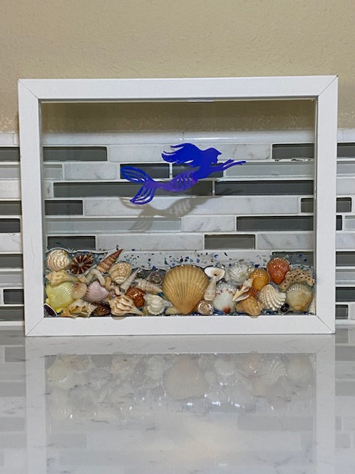White Frame with Mermaid & Shells
