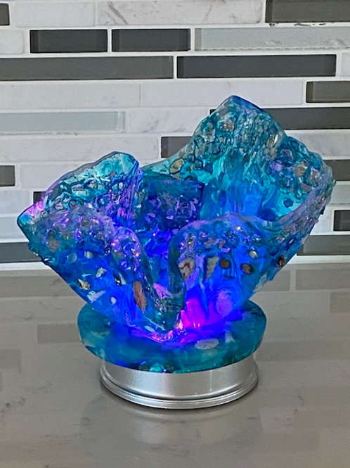 Blue Resin Bowl with Light Base
