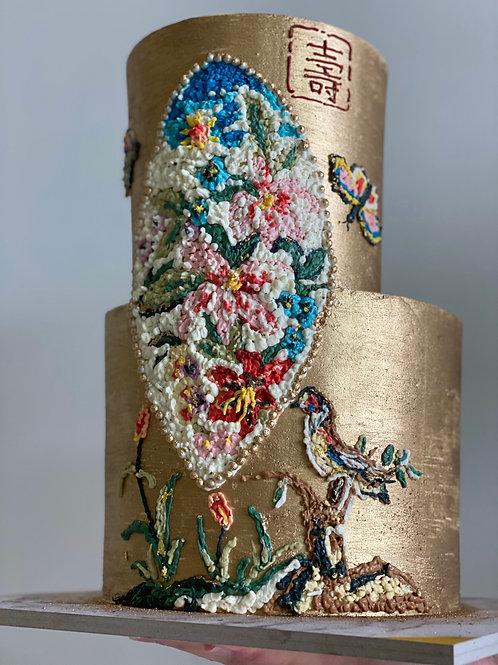 2 tier Mosaic Oriental Cake
