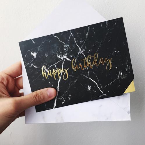 Ying Yang Marble Birthday Card Black