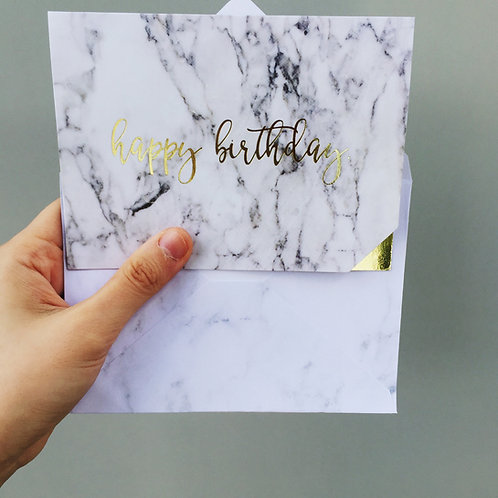 YING & YANG MARBLE BIRTHDAY CARD (WHITE)