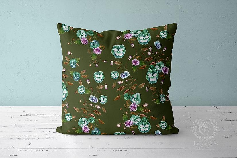 Pansy Garden Moss Green Throw Pillow, Watercolour Floral Cushion