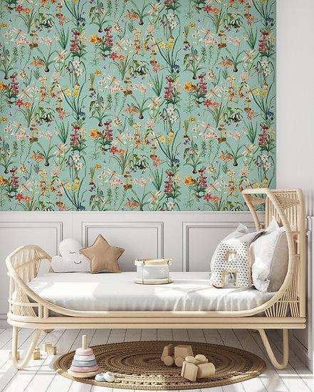 Dragonfly Garden Botanical Drawer Liner Paper or Wallpaper, Duckegg Blue