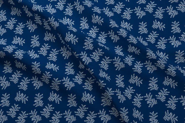 Delicate Ferns Fabric in Indigo Blue