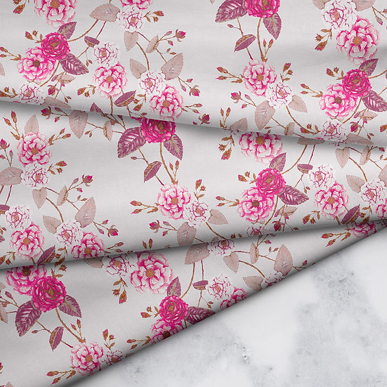 Chinoserie Rose Floral Fabric, Bright Pink, Smokey Lilac & Vanilla