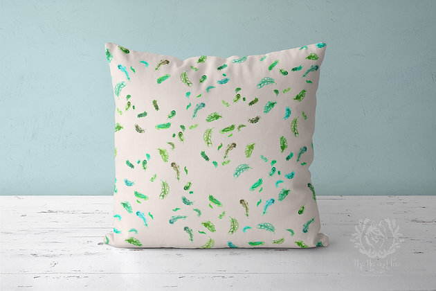 Feather Rain Linen Throw Pillow, Green and Natural Cushion Cover