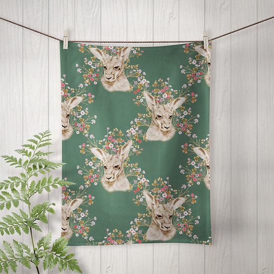 Linen Tea Towel, Joey Meadow in Green, 100% Australian Handmade