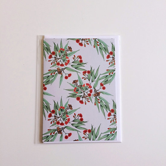 Greeting Card   Gumnuts Eucalyptus, Red & Vintage Green