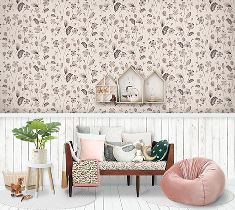 Wildflower Sketch Wallpaper, Natural or Black and White