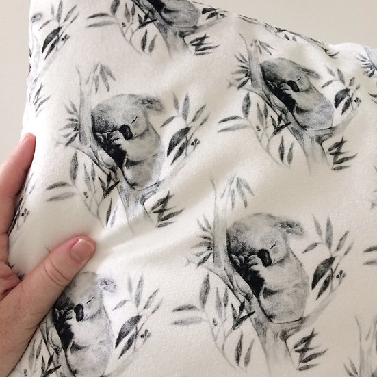 Sleepy Koala Velvet Throw Pillow, Australian Fauna Cushion 15 inch