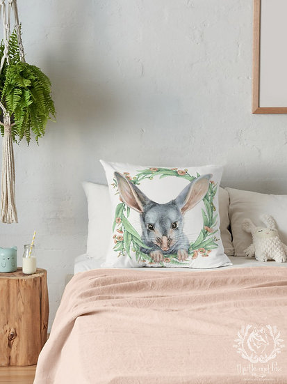 Bilby Gum Blossom Wreath Throw Pillow, Australian Fauna Cushion