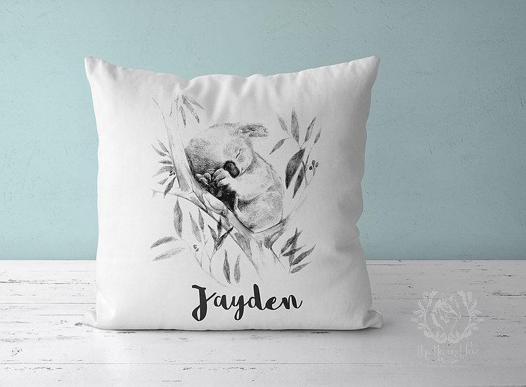 Personalized Sleepy Koala Cushion Cover, Linen Cotton or Velvet