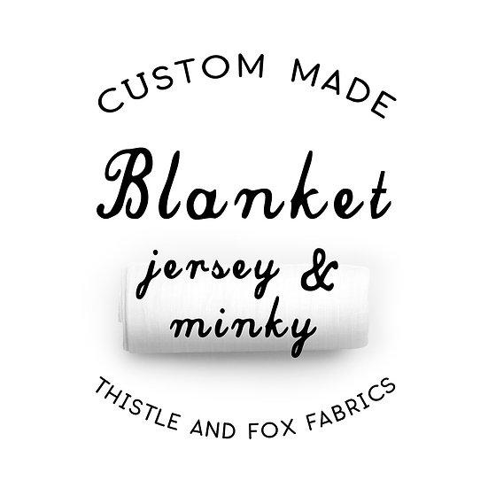 CUSTOM Organic Cotton & Minky Backed Baby Blanket