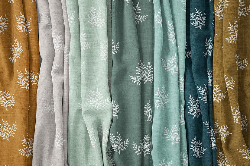 Feathery Fern Ditsy Fabric by the Metre, Choose Colour, Printed in Australia