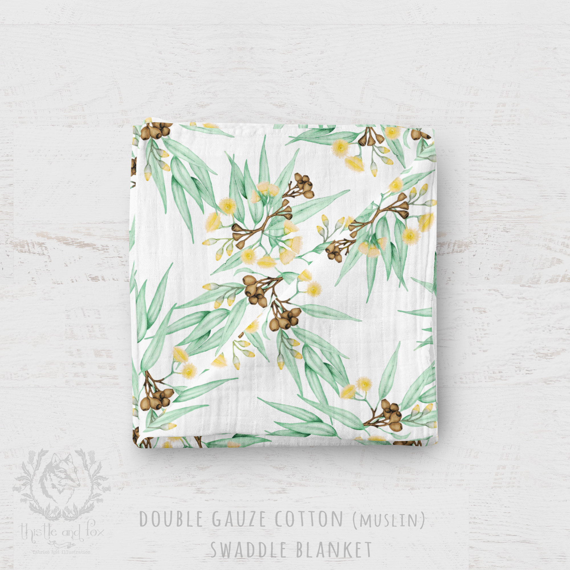 Organic Cotton Muslin Baby Blanket - Eucalyptus Yellow Blossoms