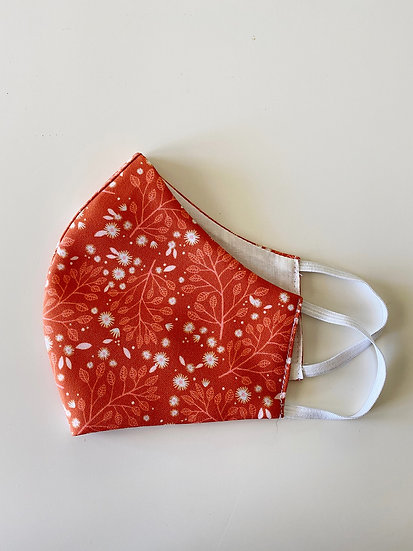 Fabric Face Mask, Daisy Garden in Toffee, Handmade in Australia