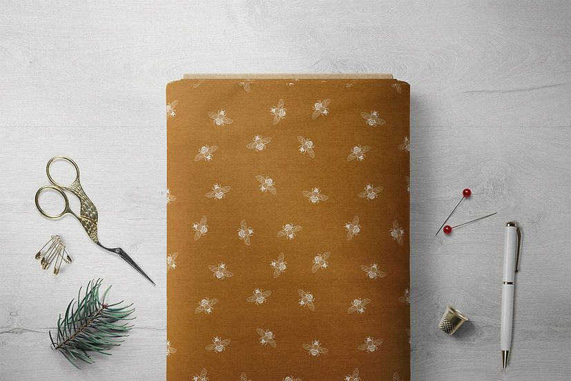 White Bees on Toffee, Eco Friendly Printed Fabric per Metre