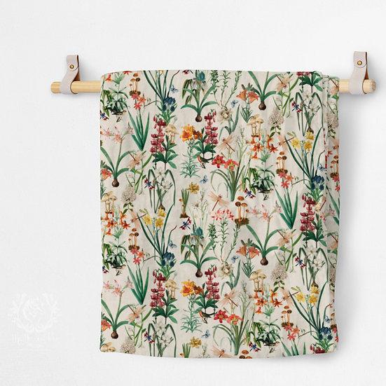 Organic Cotton Muslin Blanket, Dragonfly Garden Cream