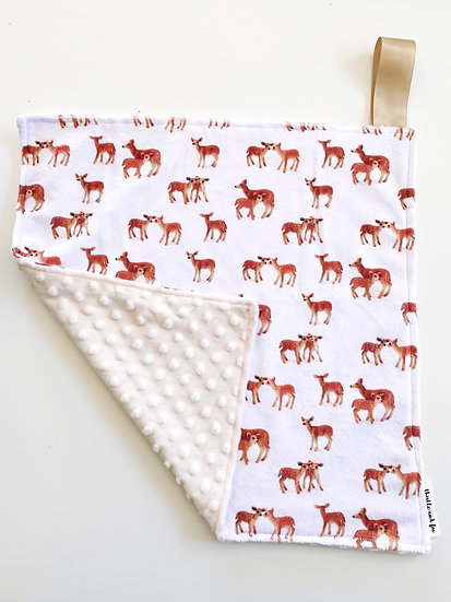 Bambi Fawn Nursery Minky Lovey for Baby with satin loop