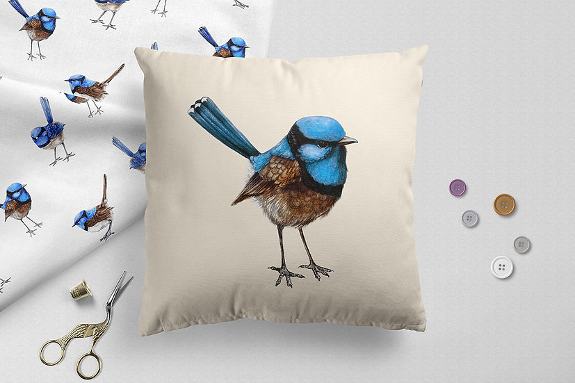 Large Blue Wren on Cream Throw Pillow, Watercolour Australian Bird Cushion