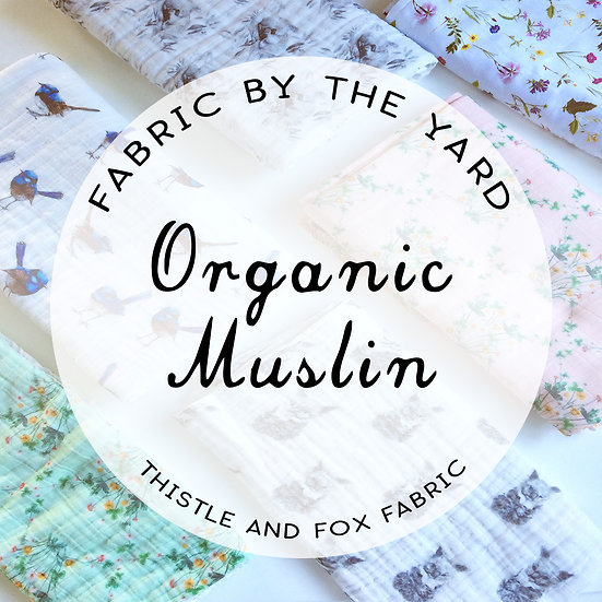 Organic Cotton Muslin, 1 yard Printed. 1 yard plain.