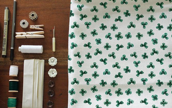Watercolor Shamrock Fabric Botanical Cotton Fabric