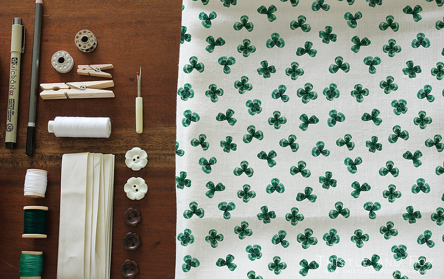 Watercolor Shamrock Fabric Botanical Cotton Fabric