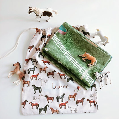 Ready to Ship Pony Play Mat, Finished Gift Pack Includes Travel Bag