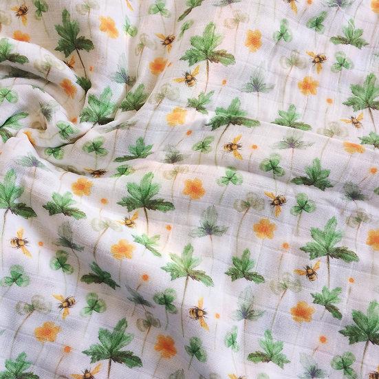 Organic Cotton Muslin Blanket - Meadow Wildflowers & Bees