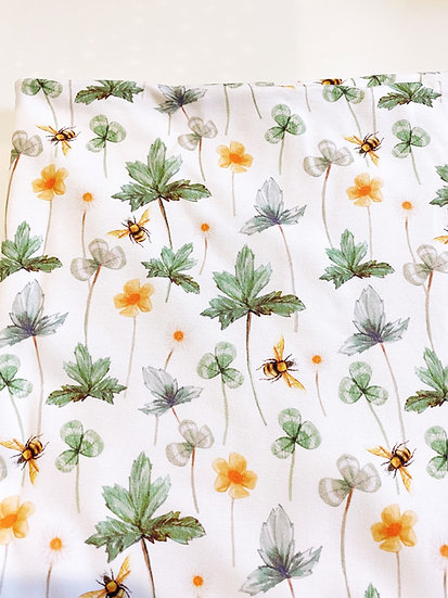 Organic Bassinet Blanket or Fitted Sheet, Wildflower Meadow with Bees