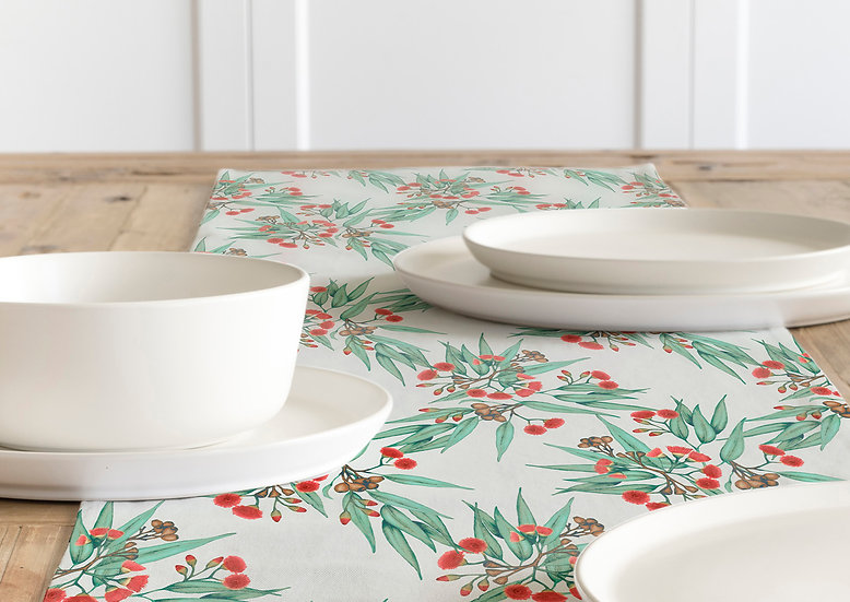 Table Runner, Eucalyptus Gum Blossom Red with Green Leaves