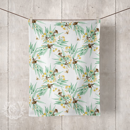 Linen Tea Towels, Eucalyptus Yellow with Bees, 100% Australian Handmade