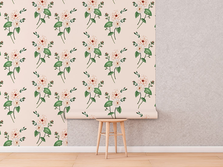 Wallpaper Ivory Peach Rose Watercolour Floral